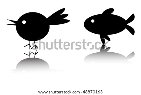bird and fish silhouette with reflection. no transparency - stock vector