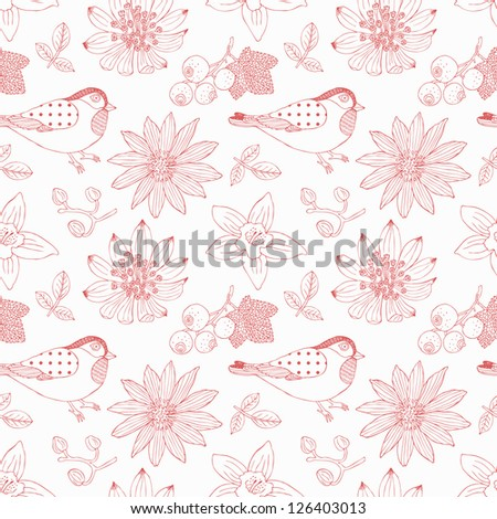 bird and flower seamless background