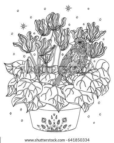 Bird And Flowers Coloring Page Atlantic Canary Vector Illustration
