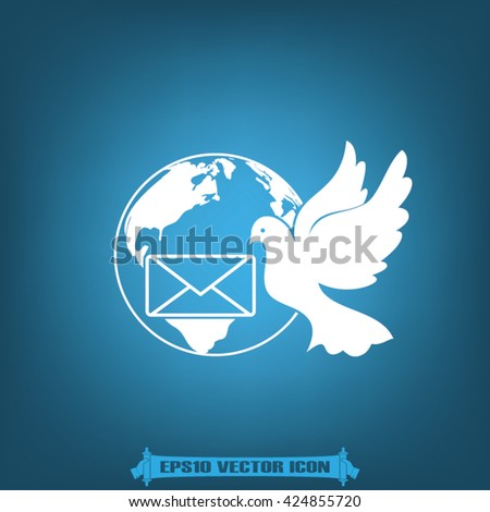 Bird and mail envelope vector illustration