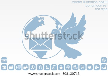Bird and mail envelope vector illustration.