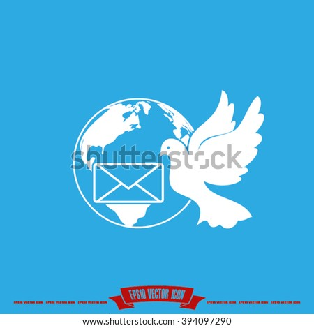 Bird and mail envelope vector illustration EPS 10.