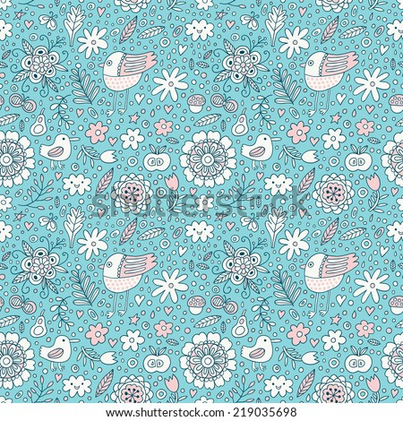 Bird and plant seamless pattern. Vector illustration.  - stock vector