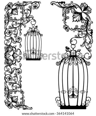 bird cage among floral decor - black and white garden design vector collection - stock vector