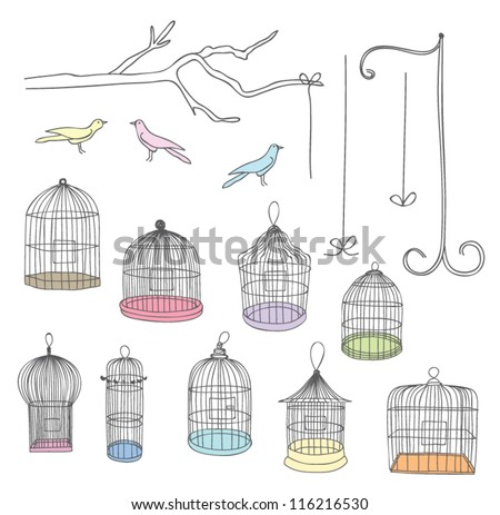 Bird Cages - stock vector