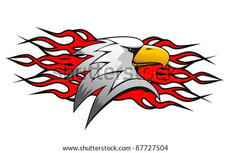 Bird cartoon mascot with red flames for tattoo design, such a logo. Rasterized version also available in gallery - stock vector
