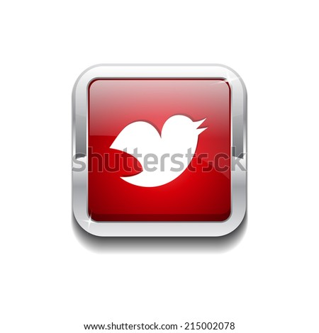 Bird 3d Rounded Corner Red Vector Icon Button - stock vector