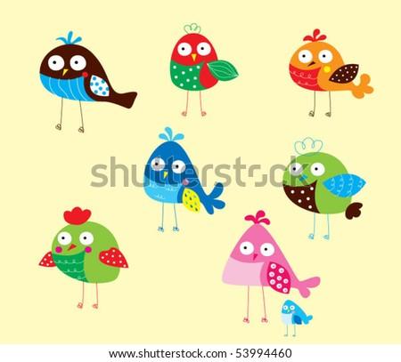 bird doodle wallpaper - stock vector