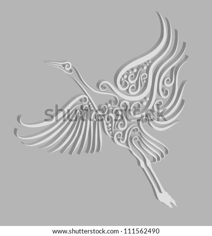 Bird engraving 2. Crane with extrude effect, use for any design you want - stock vector