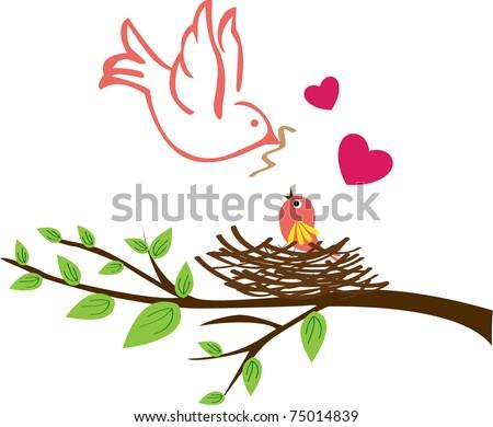 Bird family - stock vector