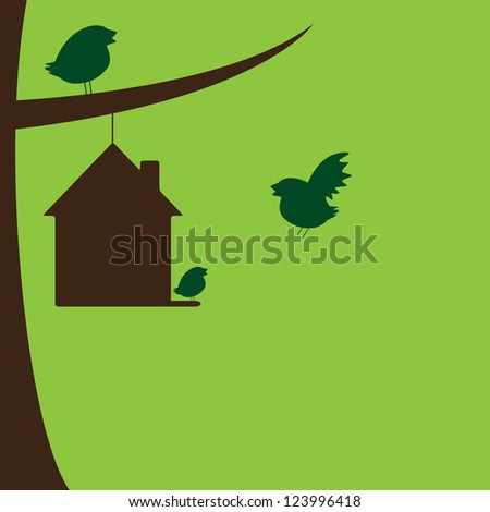 Bird family and their new house hanging on tree branch - stock vector