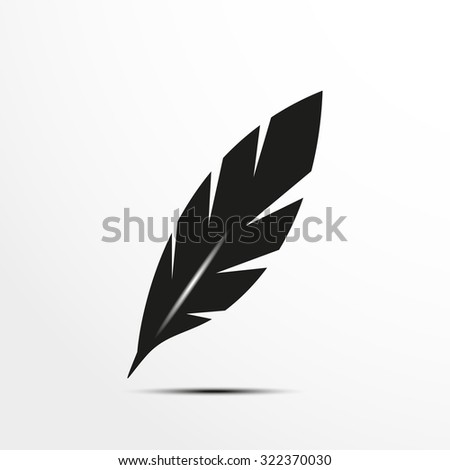 Bird feather for writing. Vector illustration. - stock vector