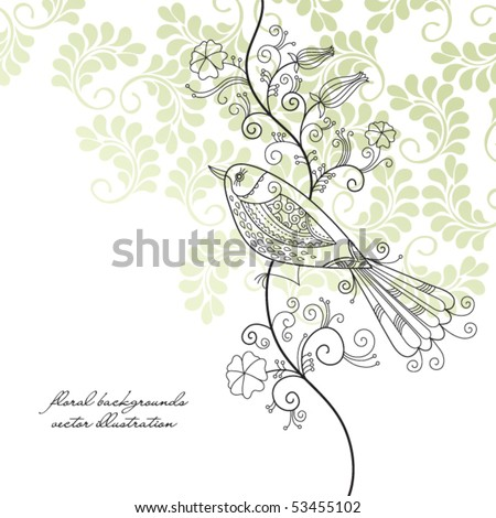 bird, floral background - stock vector