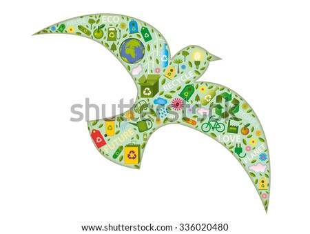 bird flying formed with green icons - stock vector
