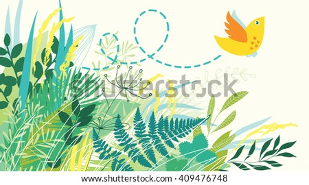 Bird flying out of grass - stock vector