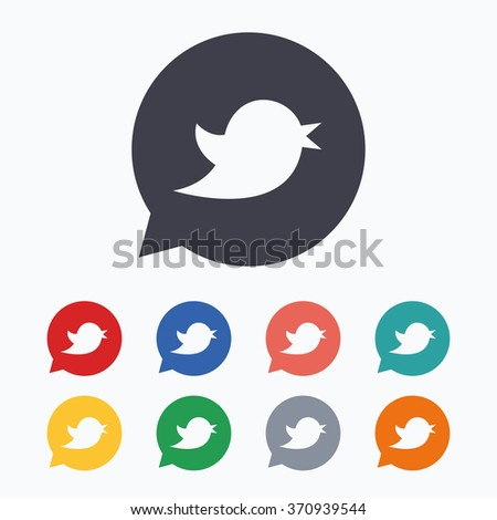 Bird icon. Social media sign. Short messages symbol. Speech bubble. Colored flat icons on white background. - stock vector