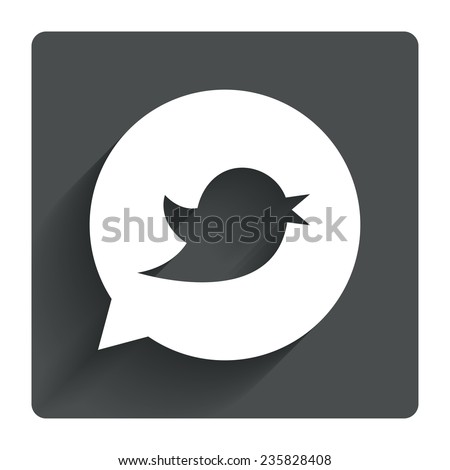 Bird icon. Social media sign. Short messages twitter retweet symbol. Speech bubble. Gray flat square button with shadow. Modern UI website navigation. Vector - stock vector