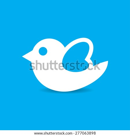 Bird icon vector illustration with shadow - stock vector