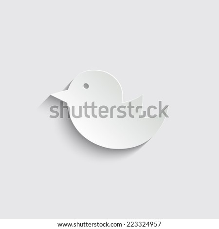 bird icon vector with shadow on a grey background