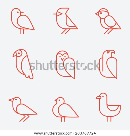 Bird icons, thin line style, flat design - stock vector