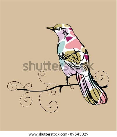 bird illustration card - stock vector