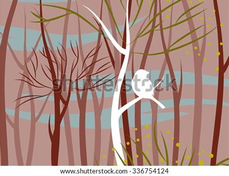 bird in forest, vector illustration - stock vector
