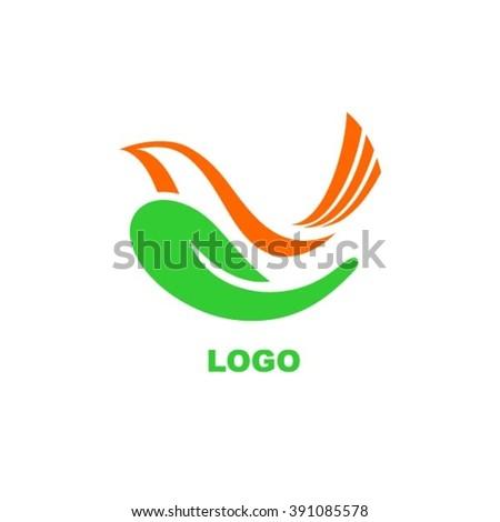 Bird in hand logo. - stock vector