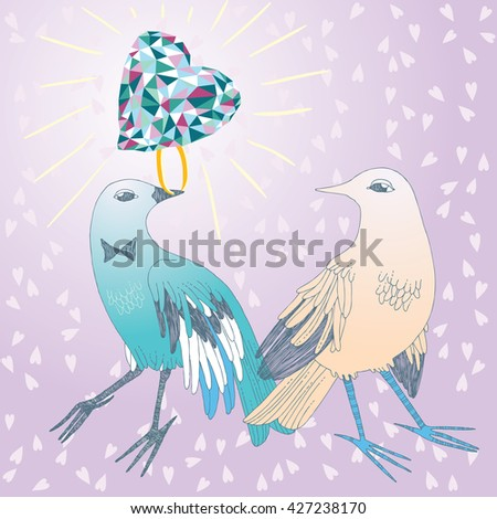 Bird in love, giving the brilliant ring to its sweetheart - stock vector