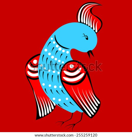 bird in traditional russian style - stock vector