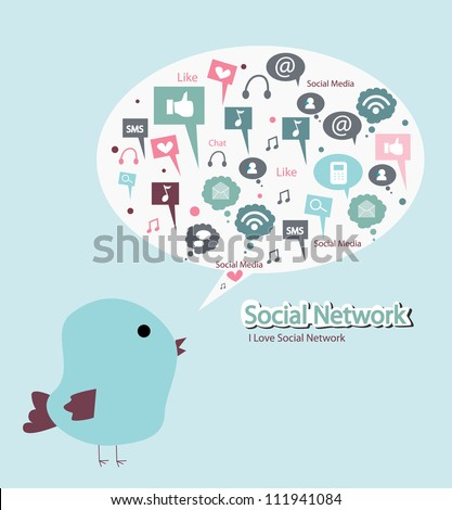bird is singing social media - stock vector