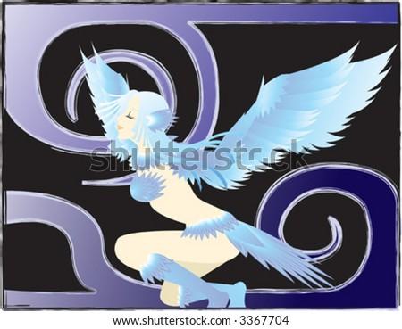 bird lady - stock vector