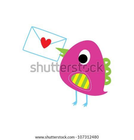 bird letter - stock vector