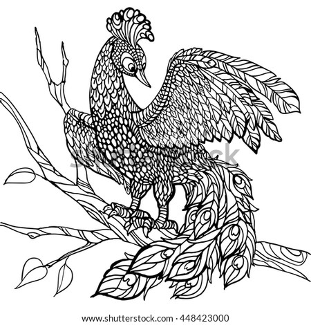 bird line art coloring page