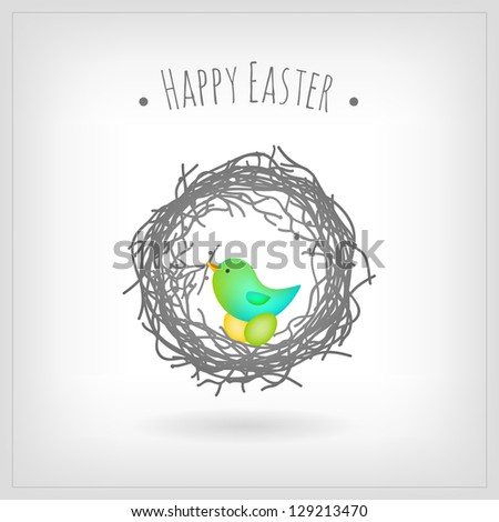 Bird nesting Easter eggs, greeting card - stock vector