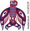 Bird - North American Indian art stylization - stock vector