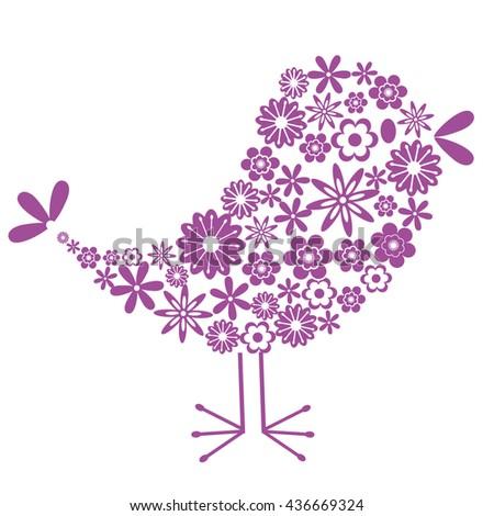 Bird of flowers - stock vector