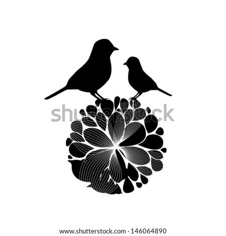 Bird on a flower - stock vector