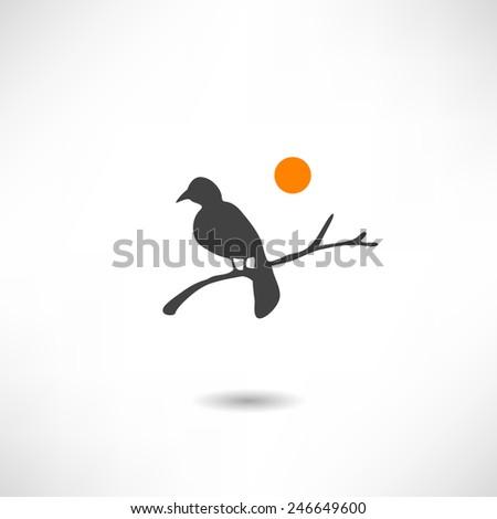 Bird on branch icon - stock vector