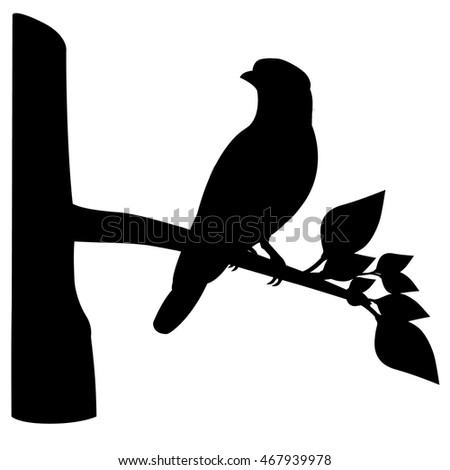 bird on branch shape vector design