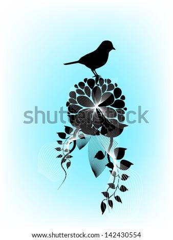 bird on flowers - stock vector