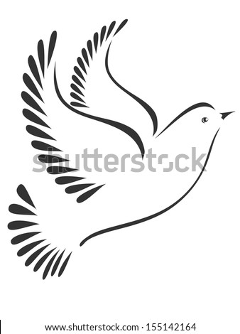 Bird or dove stylized - stock vector