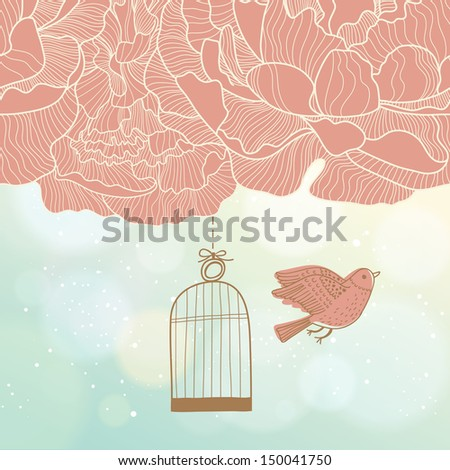 Bird out of the cage � freedom concept card in vector. Floral background with cute bird on bokeh background - stock vector