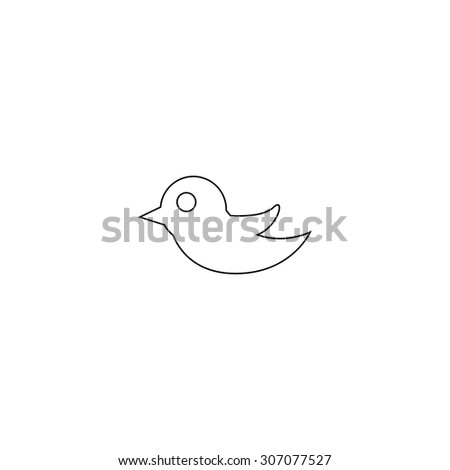 Bird. Outline black simple vector pictogram