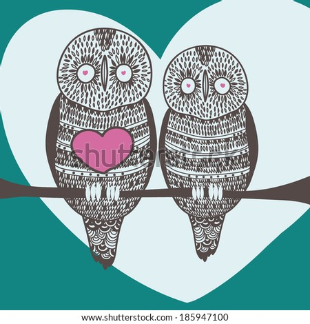 bird owl couple in love - stock vector