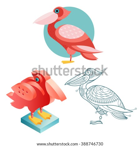 Bird pelican. Flat icon, template for adult coloring, isometric view. Set of vector birds in different unusual style. Illustration collection of images birds isolated on white background. - stock vector