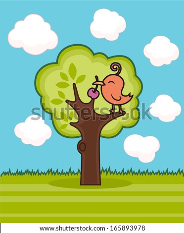 bird perching on a tree - stock vector