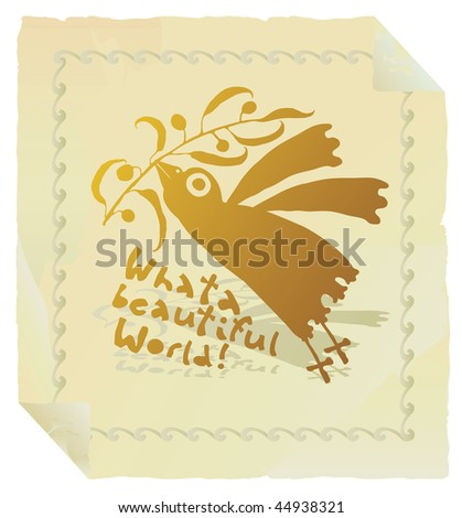 bird promoting peace gold with border - stock vector