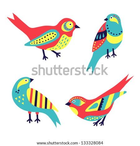 bird set - stock vector