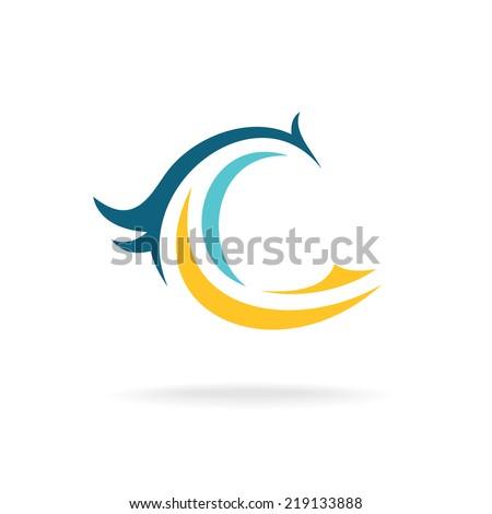 Bird silhouette logo template. C letter. - stock vector