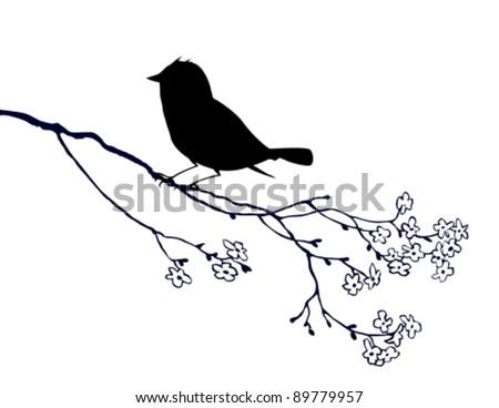 bird silhouette on white background, vector illustration - stock vector